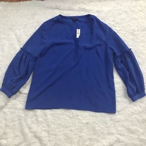NWT Royal Blue Talbots Ruffle Detail Blouse